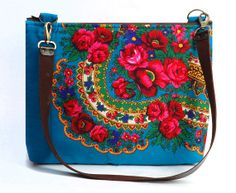 Laptop Bag15 inchLeather strap Turquoise Floral by MUHAMORS, $66.00