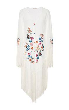 Marisol Fringed Embroidered Kimono by ANJUNA Now Available on Moda Operandi
