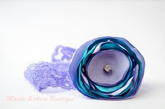 Purple and Teal Satin Flower Headband with by MaddiandAddiBowtique