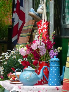 Happy Loves Rosie; blue and red enamel pots, polka dots, flowers, shabby chic