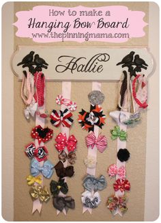 How to make a hanging hair bow board organizer by www.thepinningmama.com  #hairbow #organize #littlegirl #bowboard #vintage
