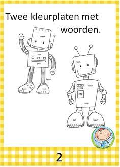 Kleurplaten. Goed te gebruiken bij VLL kern 2. Pre School, Coloring Books, Robot, Activities, Comics, Kids, Fictional Characters, Pirates, Vintage Coloring Books