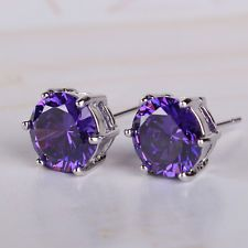 Attractive purple Swarovski crystal Charming 18K White gold filled stud earring