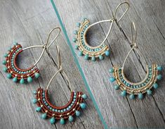 macrame earrings Miyuki beads 925 sterling silver 24K gold