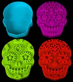 4 Sugar Skull Stamp Cookie Cutters, 1 open