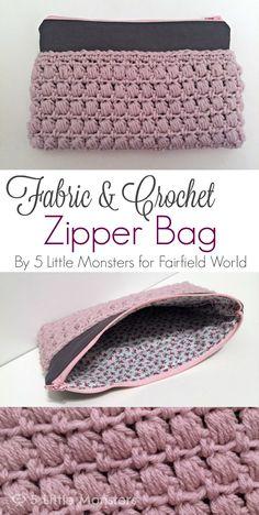 5 Little Monsters: Fabric and Crochet Zipper Bag ༺✿ƬⱤღ http://www.pinterest.com/teretegui/✿༻