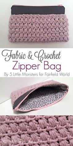 5 Little Monsters: Fabric and Crochet Zipper Bag ༺✿ƬⱤღ http://www.pinterest.com/teretegui/✿༻