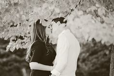 Beautiful black and white fall engagement shot