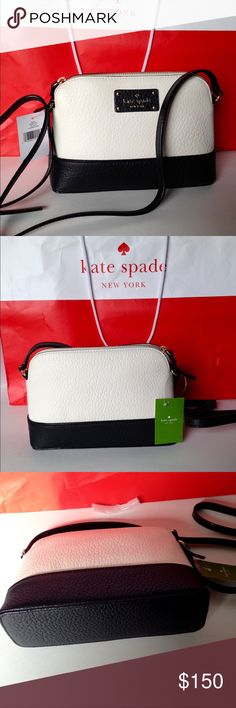 """NWT Kate Spade Bay Street Hanna Crossbody Bag New with tags Kate Spade embossed leather/cement/black Crossbody. Gold toned polished hardware. Zippered top, Kate Spade license plate logo on front. Capital custom Kate print lining with open slip pocket. Single shoulder adjustable shoulder strap. Maximum drop of 20"""". No Trades kate spade Bags Crossbody Bags"""