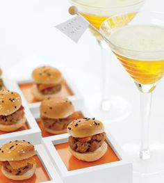 """Under the Bun Burgers at a wedding? When they're petite patties of seared tuna topped with smoked salmon bacon, it's all good. The sweet tea """"martini"""": Chivas Regal Scotch whiskey, chivasregal.com, green tea and fresh lemon juice, served with a rock candy stick flying the couple's banner. """"Rhythm"""" glasses, Crate & Barrel, crateandbarrel.com. Cocktails and hors d'ouevres created by Creative Edge Parties, NYC, creativeedgeparties.com."""