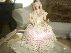 Gorgeous Porcelain Vintage Musical Doll/Pin Cushion, Victorian, French, French Boudoir, Hat Pins on Etsy, $86.00