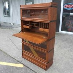 Antiques By Design - Barristers Bookcase Drop Front Desk