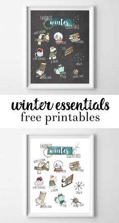 free printables {watercolor winter essentials} - all crafty things free printables {watercolor winte Diy Christmas Decorations For Home, Christmas Wall Art, Winter Christmas, Holiday, Winter Fun, Winter Essentials, Free Printable Art, Free Printables, Printable Monogram