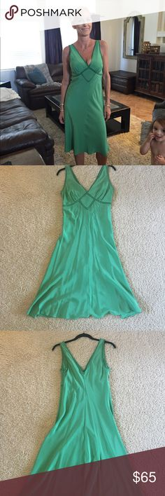 Silk Kelly Green cocktail dress Beautiful silk Ted Baker summer cocktail dress.  Delicate stitching in the front and braided detail in the front, neckline and arm holes.  Very light fabric...feels like you are wearing nothing at all. Ted Baker London Dresses