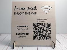 WOOD Wifi Password Sign / Personalized QR Code Wifi Network | Etsy Cafe Menu, Cafe Food, Food Menu, Guest Welcome Baskets, Promo Flyer, Digital Menu, Bicycle Decor, Wifi Password, Laundry Signs