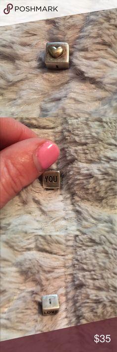 Pandora I love you charm Silver with 24k gold heart. Authentic . For pandora bracelet. Pandora Jewelry Bracelets