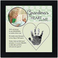 Grandma's Hand In Heart Photo Frame Keepsake Baby Handprint Gift Display
