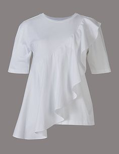 Buy the Pure Cotton Ruffle Yoke Jersey Top from Marks and Spencer's range. Stylish Tops, Casual Tops, Blouse Styles, Blouse Designs, Trendy Dresses, Fashion Dresses, Diy Dress, Fashion Sewing, Mode Inspiration