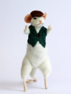 Wool Felt Mouse Liam the Fighting Irish by TheFeltedGnomeKnows