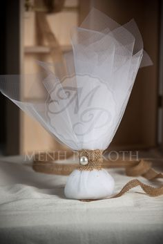 Classic tulle wedding favor - bomboniere with burlap band finish and pearl