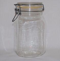 Vintage Glass Jar Canister Ermetico F.V. Control Wire Bale Closure 1-1/2 L  #Ermetico