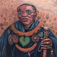 "SPA TOP40 2013 - Eve Dumont  //  ""Credo Vusamazulu Mutwa""  /  Mixed Media on Canvas  /  90x90cm"