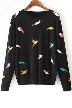 Full Bird Pattern Long Sleeve Jumper