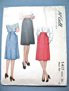 Uncut 1940s Printed Pattern by McCall 5417 Misses Skirt   Bust 32 inches di Fancywork su Etsy https://www.etsy.com/it/listing/226271936/uncut-1940s-printed-pattern-by-mccall