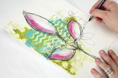 Learn to draw Simple Shapes in Your ArtJournal with this technique from Dina Wakley's new book Art Journal Courage.