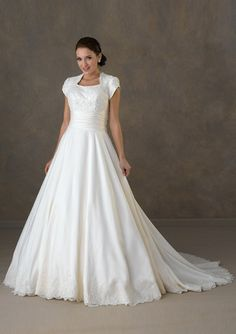 A-line wedding dress with short sleeves from gindress.com UNDER $300.- Comes in plus sizes as well as CUSTOM size...This is definitely a website to explore for any and all dresses, from wedding and mother of the bride to prom dresses and cocktail dresses for A STEAL OF A DEAL!!