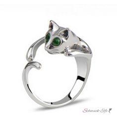 Katzen Ring Silber mit Strass Augen smaragd grün im...