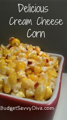 Side: Spicy Cream Cheese Corn - 1 bag frozen corn 1 - 8 oz cream cheese 1 stick salted, real butter Montreal Steak Seasoning & Red Pepper Flakes to taste. I combine everything in a crock pot and let it simmer until melted. Then I give it a good stir and voila! It's ready to eat. Can be made in a saucepan as well. ONE OF MY MOST REQUESTED DISH FROM EVERYONE! Double or triple the recipe if desired for a larger group or family. It's super easy, quick and cheap to make, Enjoy :D