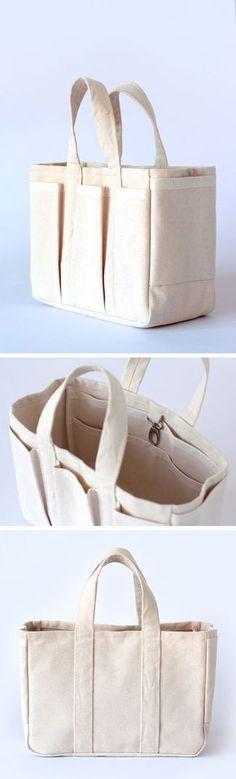 Patron de couture sac cabas Ernest, super pratique avec ses nombreuses poches ! #patroncouturesac #tutocouture