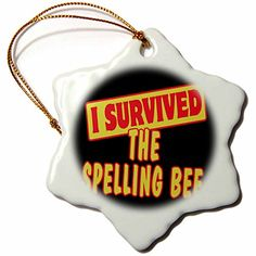 3dRose orn_118388_1 I Survived The Spelling Bee Survival Pride and Humor Design Snowflake Ornament, Porcelain, 3-Inch => More info  at Christmas Home Decor