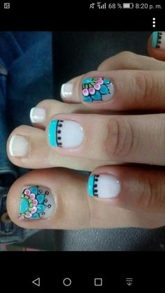 Nail Art Design 2017 Best Of 10 Easter Acrylic Nails Art Designs & Ideas 2017 Pedicure Nail Art, Pedicure Designs, Toe Nail Designs, Toe Nail Art, Acrylic Nails, Cute Toe Nails, Love Nails, Pretty Nails, Summer Toe Nails