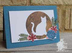 Cat punch, Beautiful bouquet, Stampin Up Chrismas Cards, Pet Sympathy Cards, Dog Cards, Cute Cards, Easy Cards, Stamping Up Cards, Animal Cards, Card Sketches, Halloween Cards