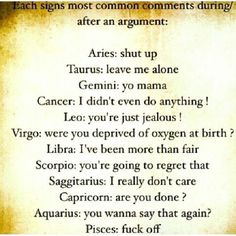 Cancer is so me and Capricorn is so Matt!!!