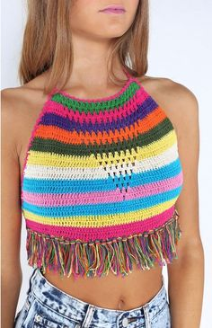 Andi Bagus Pony Fringe Top Rainbow | Beginning Boutique #summerclothes…