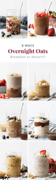 How to Make Overnight Oats (+8 flavors!) - Fit Foodie Finds Healthy Oatmeal Recipes, Healthy Breakfast Options, Oats Recipes, Healthy Breakfasts, Healthy Brunch, Nutritious Breakfast, Freezer Recipes, Freezer Cooking, Healthy Options
