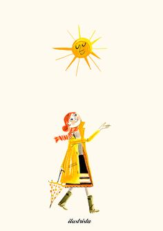 sun girl illustration by Luciano Lozano Happy Sunshine, Good Morning Sunshine, Hello Sunshine, Petunias, Sun Illustration, Landscape Illustration, Umbrella Art, Parasols, Sun Moon Stars
