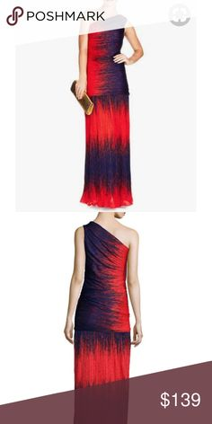 """Halston Heritage Ombre One Shoulder Gown Fire Wind Why go LBD when you can choose this show stopper? Figure flattering Halston Heritage one shoulder Ombré print gown in Fire/Wind. Asymmetric neckline, fitted silhouette, straight hem. Side zip closure. Size 10. Poly.  39"""" bust, 28"""" waist - measurements taken unstretched. 62.5"""" length from shoulder. Halston Heritage Dresses Maxi"""