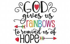 God Gives Us Rainbows to Remind Us Of Hope Rainbow Baby Word Art MACHINE EMBROIDERY DESIGN 4X4, 5X7 & 6X10 - Breezy Lane Embroidery