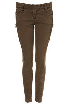 Khaki Skinny Fit Zip Trousers
