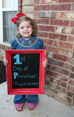 First Day of School picture idea with chalkboard@Kelly's Korner