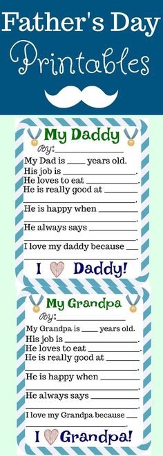 Father's Day Free Printables, Father's Day Free Printables for grandpa, easy Father's day gifts, Father's Day Printables,