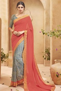 Pink And Grey Georgette Saree With Georgette Blouse Online   http://www.andaazfashion.co.uk/womens/sarees