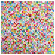 Postage Stamp Quilt ::  81 16-Patch Blocks  ::  1296 patches of scrap fabric