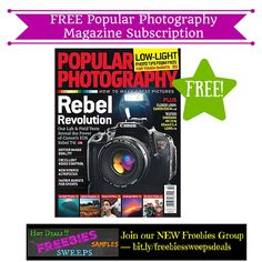 Freebies Offer: FREE Popular Photography Magazine Subscription - http://www.couponsforyourfamily.com/freebies-offer-free-popular-photography-magazine-subscription-3/