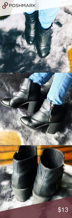 """Black Ankle Boots Black ankle boots from Divided by H&M. Functional side zippers. Size 8 (EUR 39). Heel approx 3.25"""". Gently loved in good condition, I just need to make room for new arrivals  Divided Shoes Ankle Boots & Booties"""