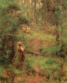 Frederick McCubbin (Autralian painter) 1855 - 1917 What the Little Girl Saw in the Bush, 1904 Australian Painting, Australian Artists, Mary Cassatt, Landscape Art, Landscape Paintings, Vincent Van Gogh, Dragons, Australian Bush, Pierre Bonnard